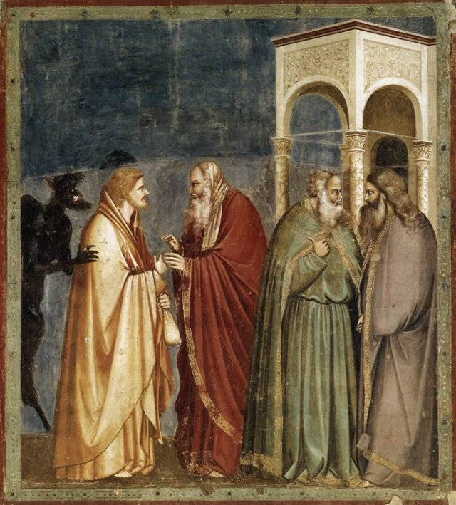 judas betrays jesus by giotto
